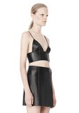 T by ALEXANDER WANG RAW EDGE TRIANGLE LEATHER BRALETTE Swimwear Adult 8_n_a