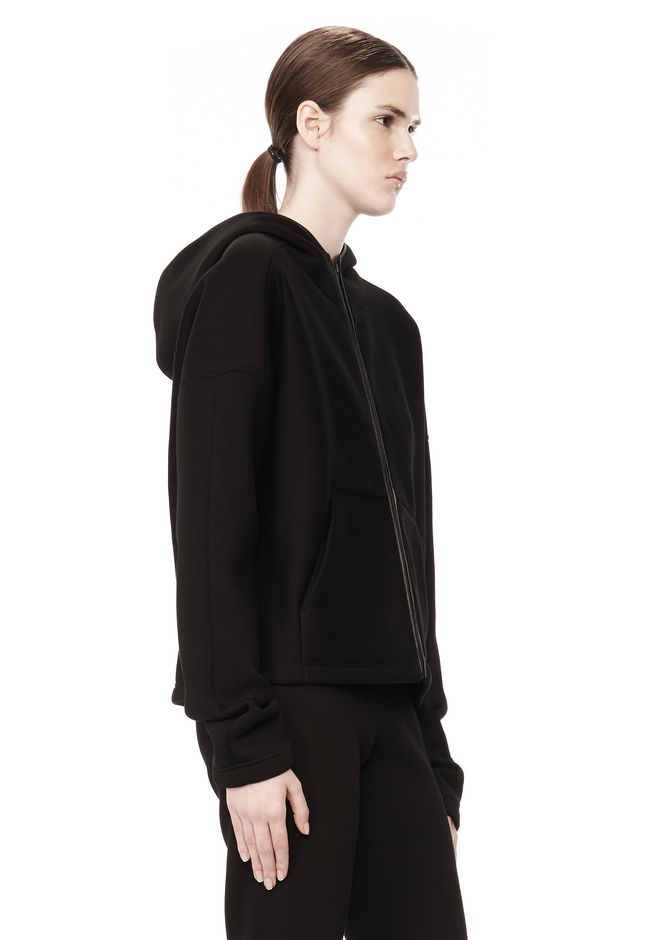 T by ALEXANDER WANG SCUBA DOUBLE KNIT HOODIE W ITH LEATHER TRIM TOP Adult 12_n_a