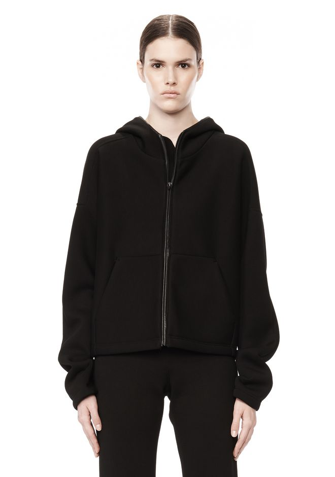 T by ALEXANDER WANG SCUBA DOUBLE KNIT HOODIE W ITH LEATHER TRIM TOP Adult 12_n_e