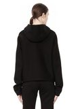 T by ALEXANDER WANG SCUBA DOUBLE KNIT HOODIE W ITH LEATHER TRIM TOP Adult 8_n_d