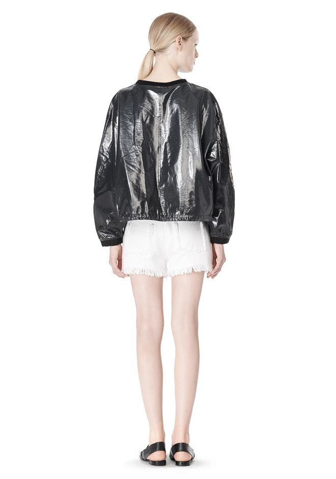T by ALEXANDER WANG LAMINATED COTTON TERRY SWEATSHIRT TOP Adult 12_n_r