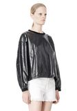 T by ALEXANDER WANG LAMINATED COTTON TERRY SWEATSHIRT TOP Adult 8_n_a