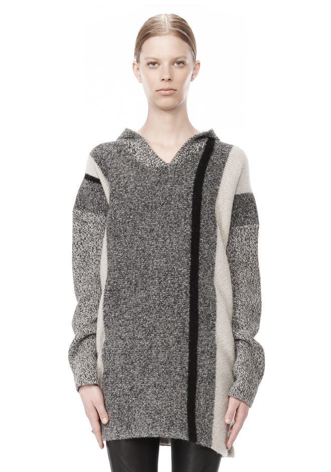 T by ALEXANDER WANG BOILED TWEED STRIPE BAJA HOODIE TOP Adult 12_n_e