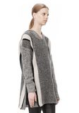T by ALEXANDER WANG BOILED TWEED STRIPE BAJA HOODIE TOP Adult 8_n_a
