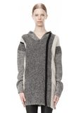 T by ALEXANDER WANG BOILED TWEED STRIPE BAJA HOODIE TOP Adult 8_n_e