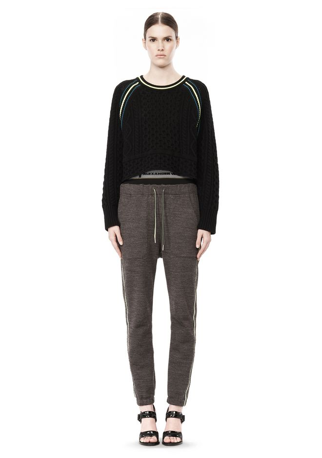 T by ALEXANDER WANG MERINO BLEND PULLOVER WITH RIB DETAIL