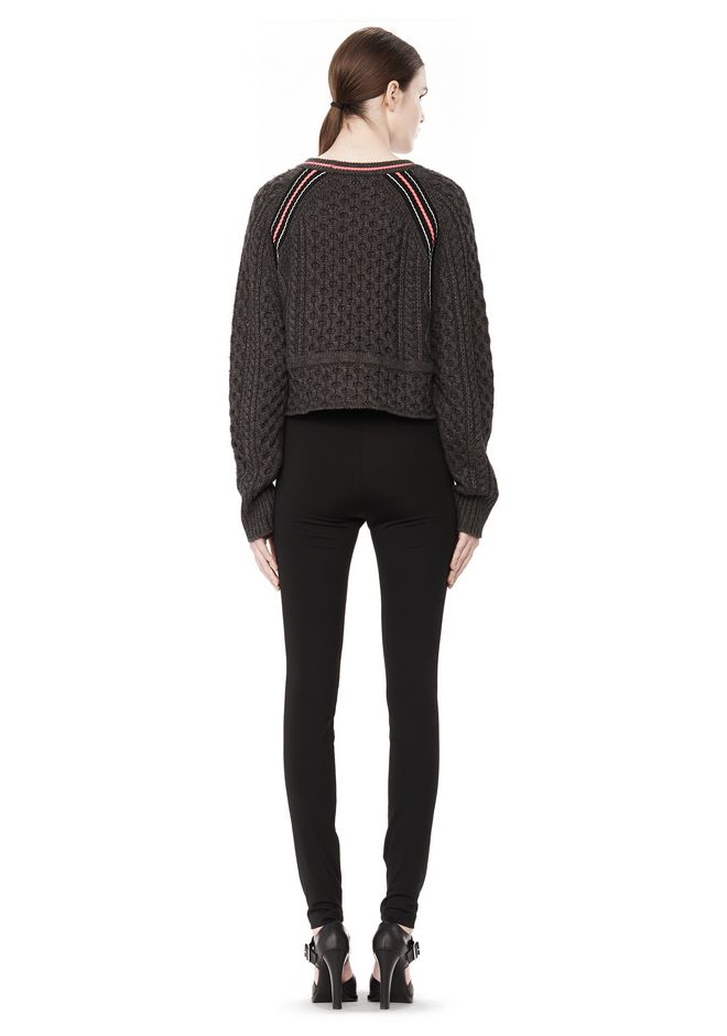 T by ALEXANDER WANG MERINO BLEND PULLOVER WITH RIB DETAIL TOP Adult 12_n_r