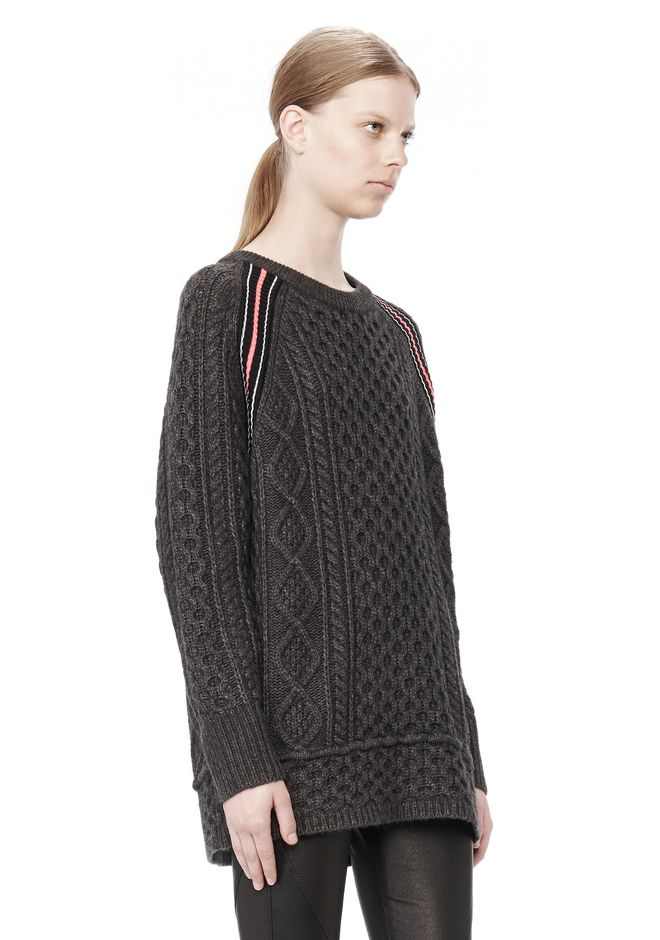 T by ALEXANDER WANG MERINO BLEND TUNIC WITH RIB DETAIL TOP Adult 12_n_a