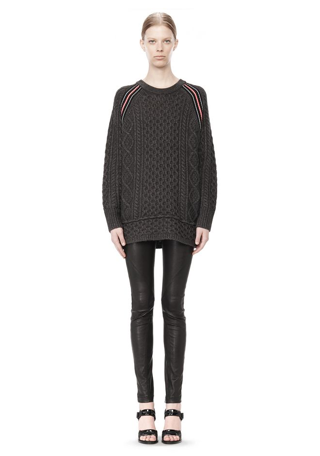 T by ALEXANDER WANG MERINO BLEND TUNIC WITH RIB DETAIL