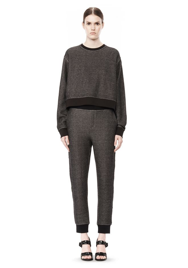 T by ALEXANDER WANG COTTON TWILL FRENCH TERRY CROPPED SWEATSHIRT