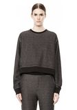 T by ALEXANDER WANG COTTON TWILL FRENCH TERRY CROPPED SWEATSHIRT TOP Adult 8_n_e