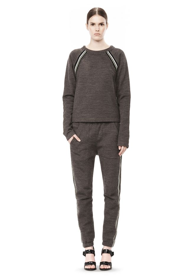 T by ALEXANDER WANG MELANGE FLEECE CREWNECK PULLOVER WITH RIB DETAIL
