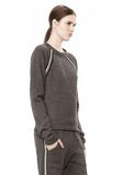T by ALEXANDER WANG MELANGE FLEECE CREWNECK PULLOVER WITH RIB DETAIL TOP Adult 8_n_a