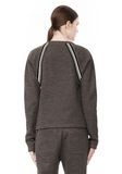 T by ALEXANDER WANG MELANGE FLEECE CREWNECK PULLOVER WITH RIB DETAIL TOP Adult 8_n_d