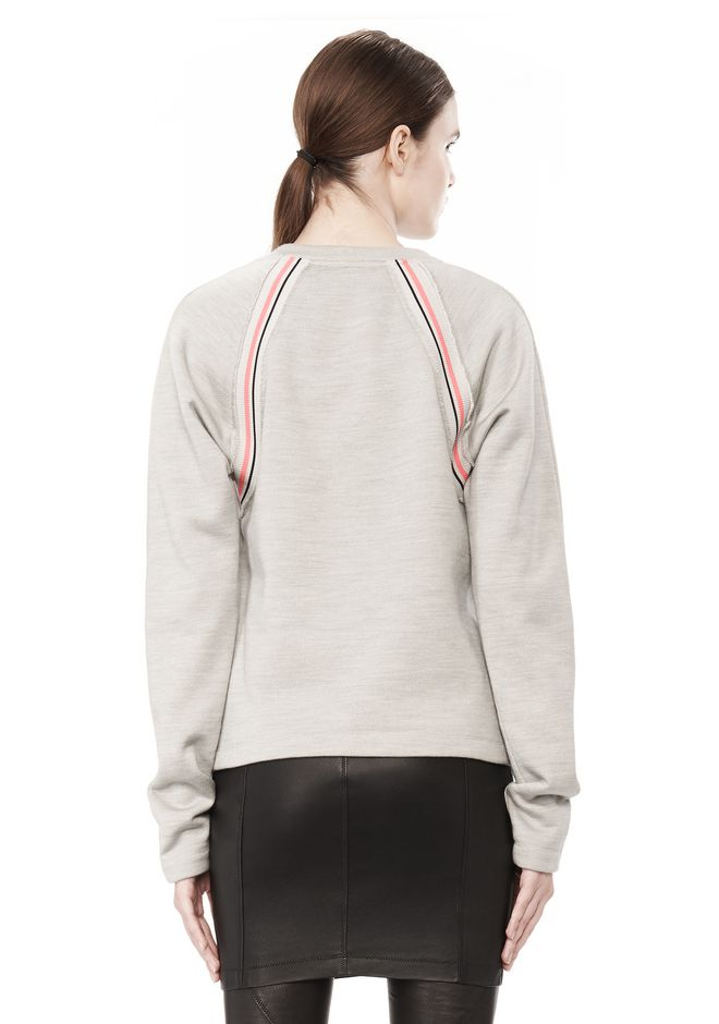 T by ALEXANDER WANG MELANGE FLEECE CREWNECK PULLOVER WITH RIB DETAIL TOP Adult 12_n_d