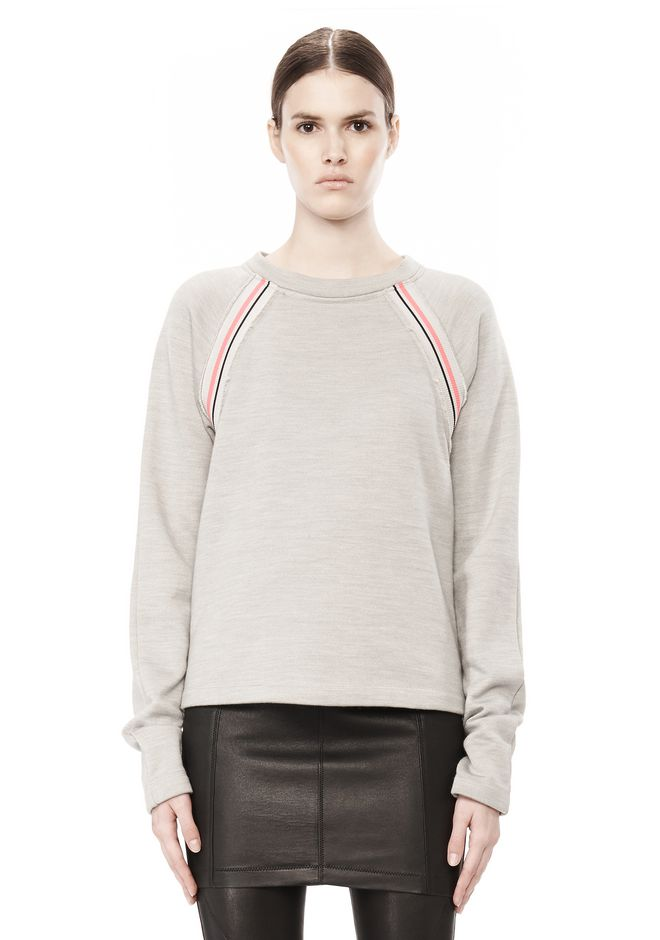 T by ALEXANDER WANG MELANGE FLEECE CREWNECK PULLOVER WITH RIB DETAIL TOP Adult 12_n_e