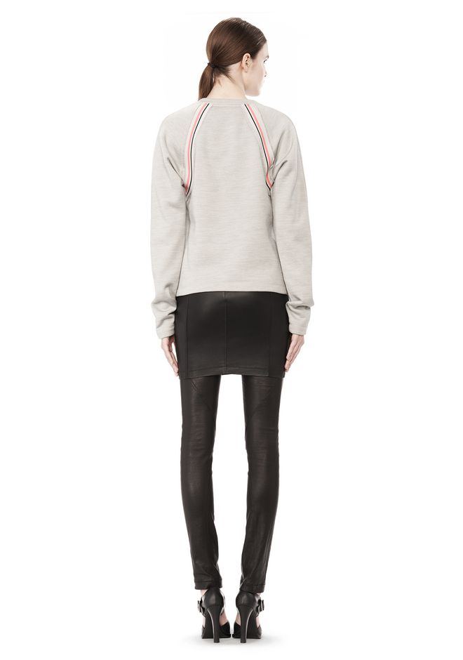 T by ALEXANDER WANG MELANGE FLEECE CREWNECK PULLOVER WITH RIB DETAIL TOP Adult 12_n_r