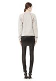 T by ALEXANDER WANG MELANGE FLEECE CREWNECK PULLOVER WITH RIB DETAIL TOP Adult 8_n_r