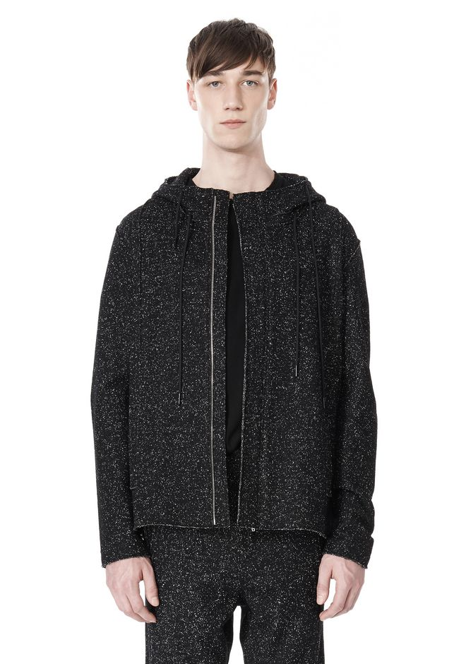 T by ALEXANDER WANG BOUCLE FLEECE HOODED JACKET TOP Adult 12_n_e