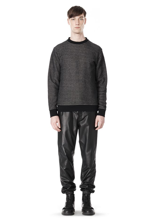 T by ALEXANDER WANG COTTON TWILL KNIT FRENCH TERRY SWEATSHIRT