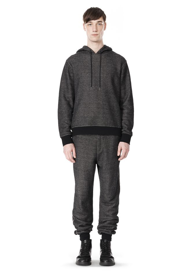 T by ALEXANDER WANG COTTON TWILL KNIT FRENCH TERRY HOODIE