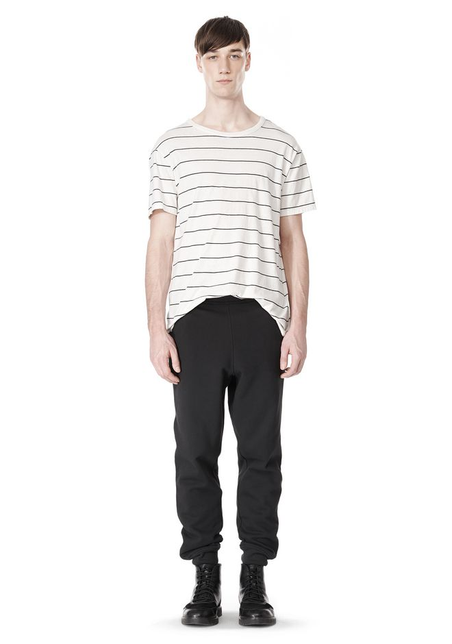 T by ALEXANDER WANG LINEN COTTON  STRIPE CREWNECK SHORT SLEEVE TEE