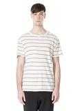 LINEN COTTON  STRIPE CREWNECK SHORT SLEEVE TEE