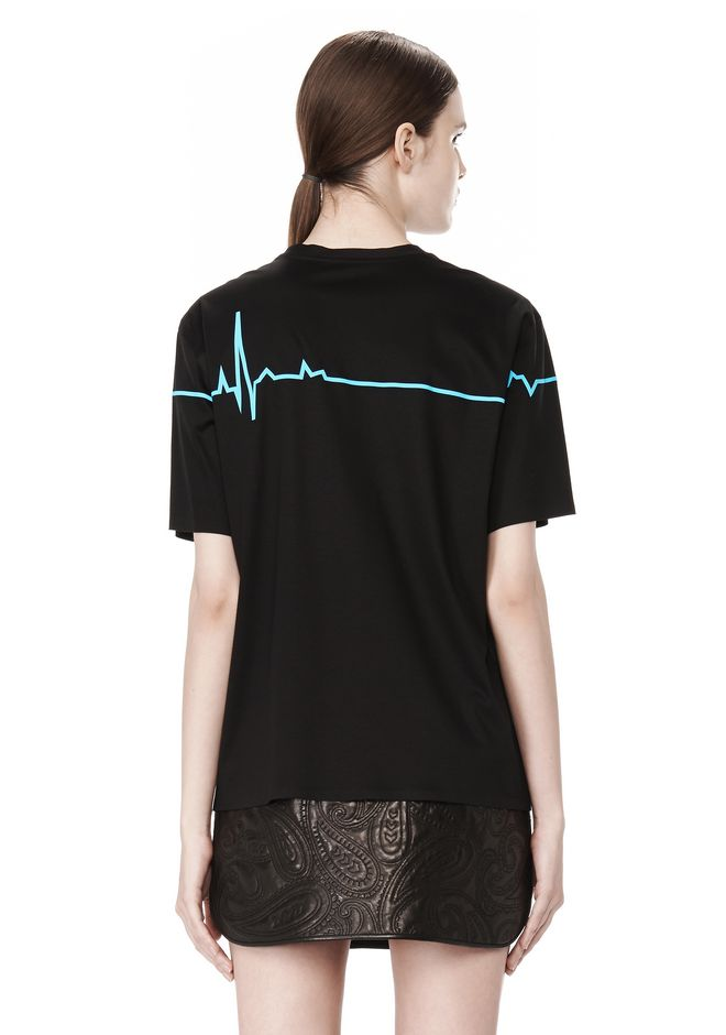 CREWNECK TEE WITH BONDED HEARTBEAT GRAPHIC