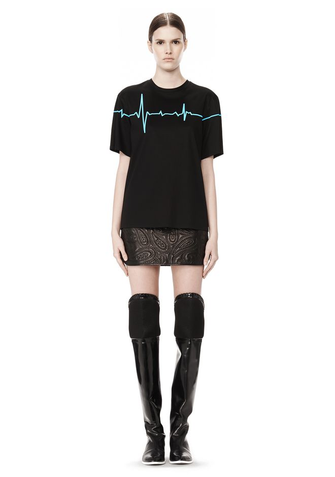 ALEXANDER WANG CREWNECK TEE WITH BONDED HEARTBEAT GRAPHIC