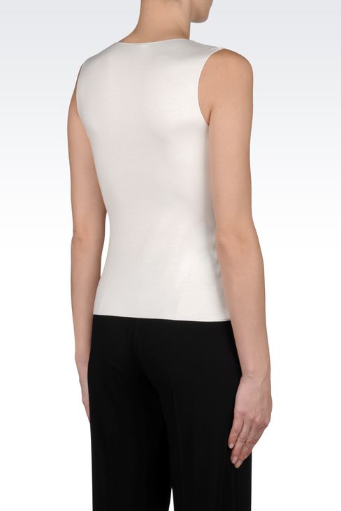 TOP IN STRETCH VISCOSE: Sleeveless tops Women by Armani - 3