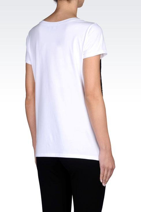 T-SHIRT IN STRETCH JERSEY WITH SEQUINS: Short-sleeve t-shirts Women by Armani - 3