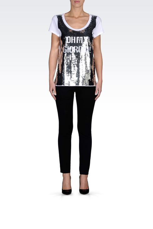 T-SHIRT IN STRETCH JERSEY WITH SEQUINS: Short-sleeve t-shirts Women by Armani - 2