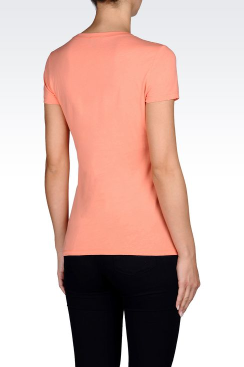 T-SHIRT IN COTTON JERSEY WITH LOGO: Print t-shirts Women by Armani - 3