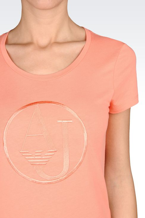 T-SHIRT IN COTTON JERSEY WITH LOGO: Print t-shirts Women by Armani - 4