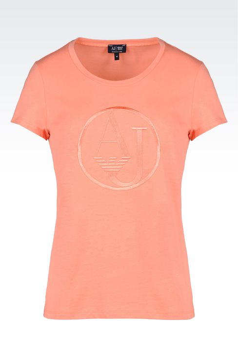 T-SHIRT IN COTTON JERSEY WITH LOGO: Print t-shirts Women by Armani - 1
