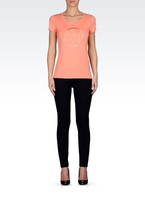 T-SHIRT IN COTTON JERSEY WITH LOGO: Print t-shirts Women by Armani - 2