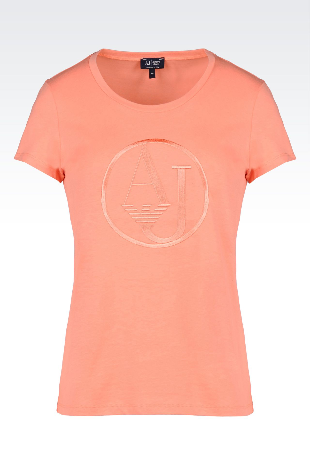 T-SHIRT IN COTTON JERSEY WITH LOGO: Print t-shirts Women by Armani - 0