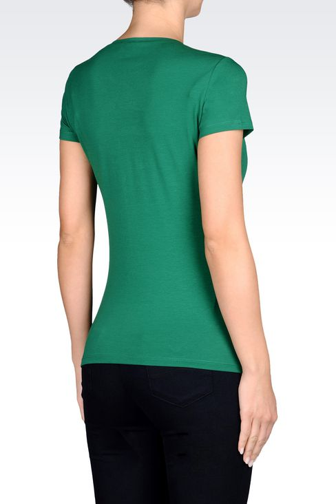 T-SHIRT IN STRETCH COTTON JERSEY WITH LOGO PRINT: Print t-shirts Women by Armani - 3