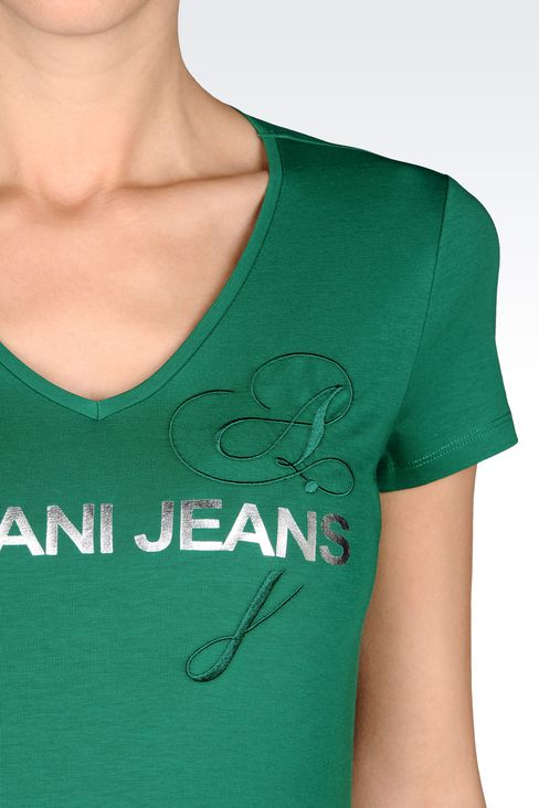 T-SHIRT IN STRETCH COTTON JERSEY WITH LOGO PRINT: Print t-shirts Women by Armani - 4