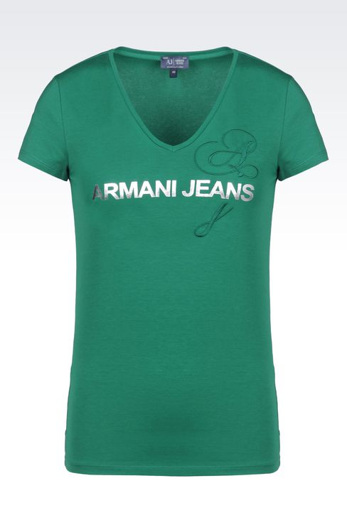 T-SHIRT IN STRETCH COTTON JERSEY WITH LOGO PRINT: Print t-shirts Women by Armani - 1