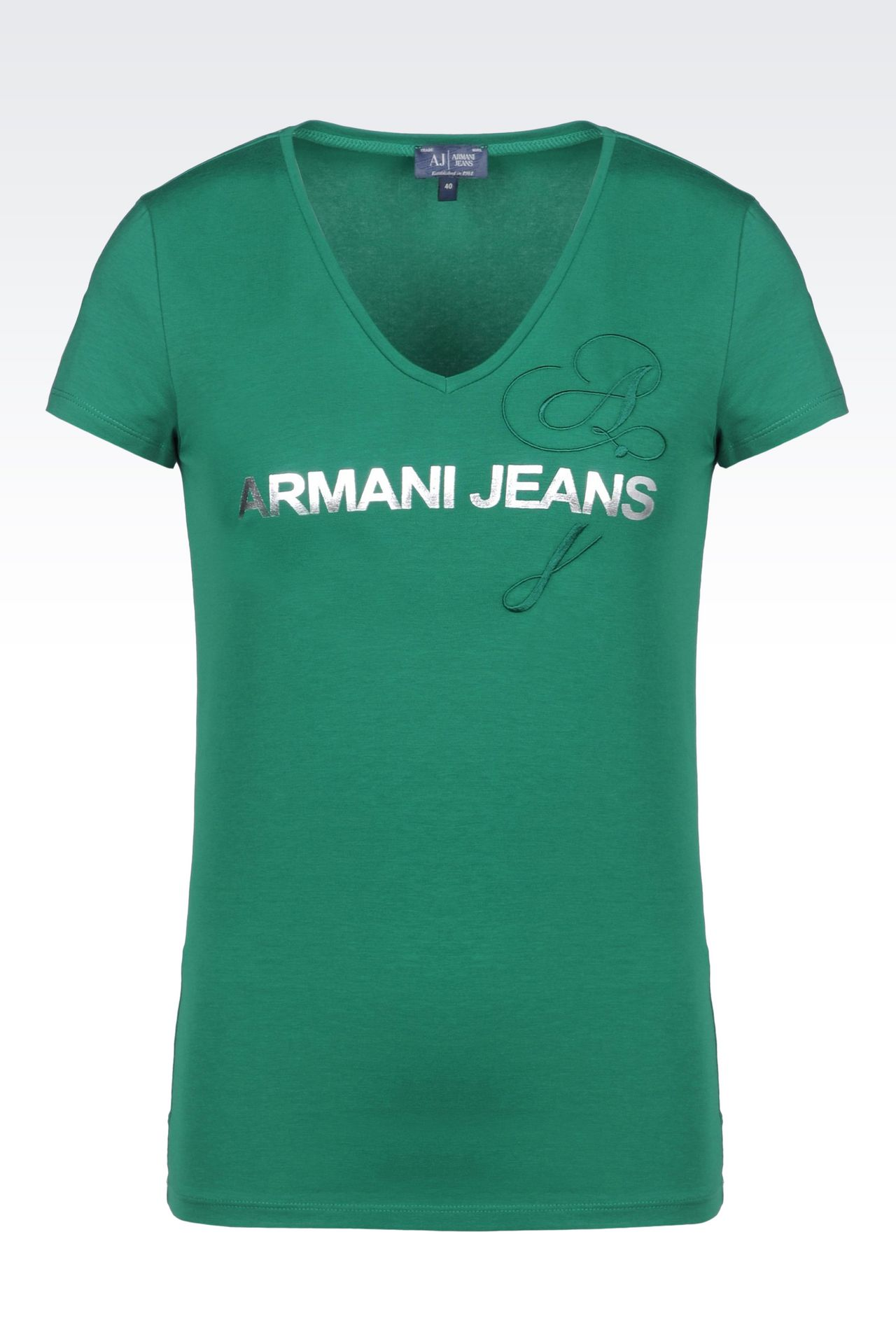 T-SHIRT IN STRETCH COTTON JERSEY WITH LOGO PRINT: Print t-shirts Women by Armani - 0