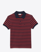 CLASSIC POLO SHIRT IN NAVY BLUE AND RED STRIPED PIQUÉ COTTON