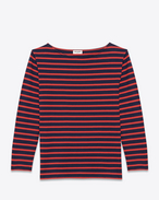 CLASSIC MARINIÈRE Long sleeve Top IN Navy Blue and Red Striped Cotton Jersey