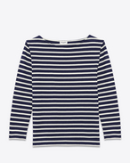 CLASSIC MARINIÈRE Long sleeve Top IN Navy Blue and IVORY Striped Cotton Jersey