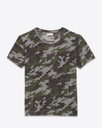CREWNECK T SHIRT IN Grey and Khaki Camouflage Printed COTTON JERSEY