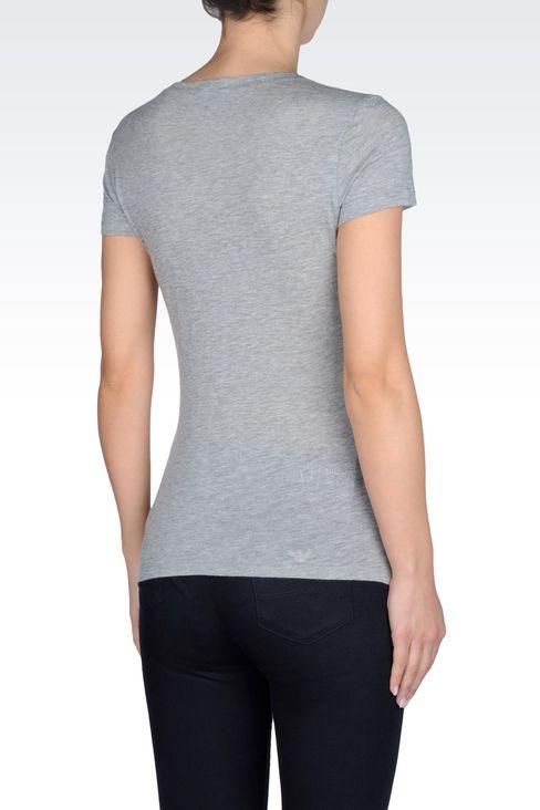 T-SHIRT IN COTTON MODAL JERSEY: Print t-shirts Women by Armani - 3