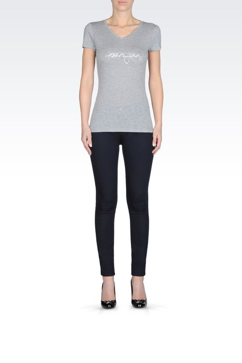 T-SHIRT IN COTTON MODAL JERSEY: Print t-shirts Women by Armani - 2