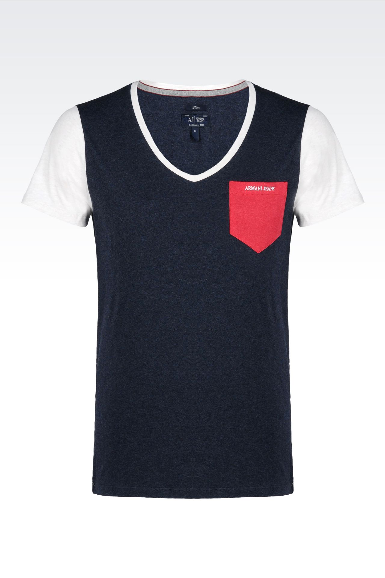 shirt in melange cotton jersey print t shirts men by armani 0. Black Bedroom Furniture Sets. Home Design Ideas