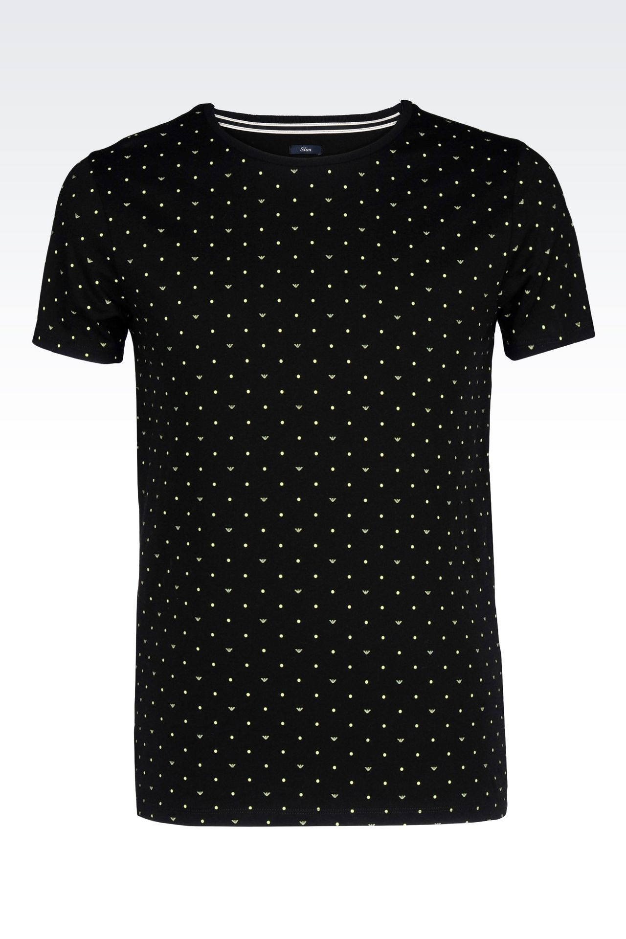 logo patterned cotton jersey t shirt print t shirts men by armani 0. Black Bedroom Furniture Sets. Home Design Ideas