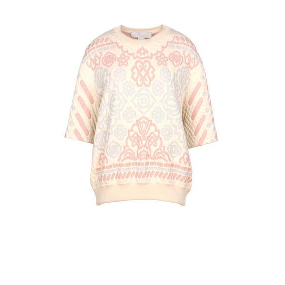 STELLA McCARTNEY, Sweatshirt à manches courtes, Sweat-shirt en jacquard pastel